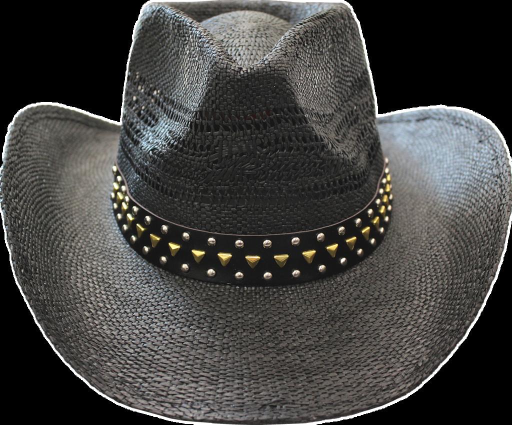 Straw Hat - 3630j Black/stud - Cowboy Hat Clipart - Large ...