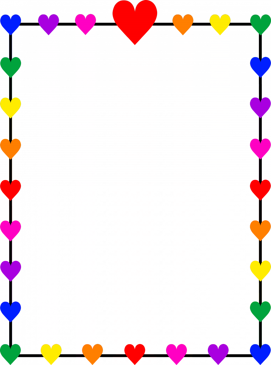 Rainbow Hearts Border Frame Colorful Border Designs Simple Clipart Large Size Png Image Pikpng