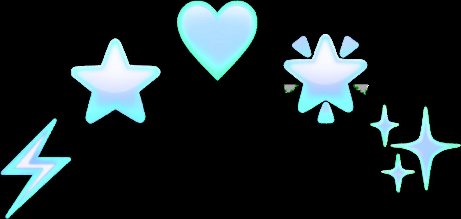 Emoji Heart Star Blue Design Decoration Thunder Head - Heart Clipart (2289x2289), Png Download