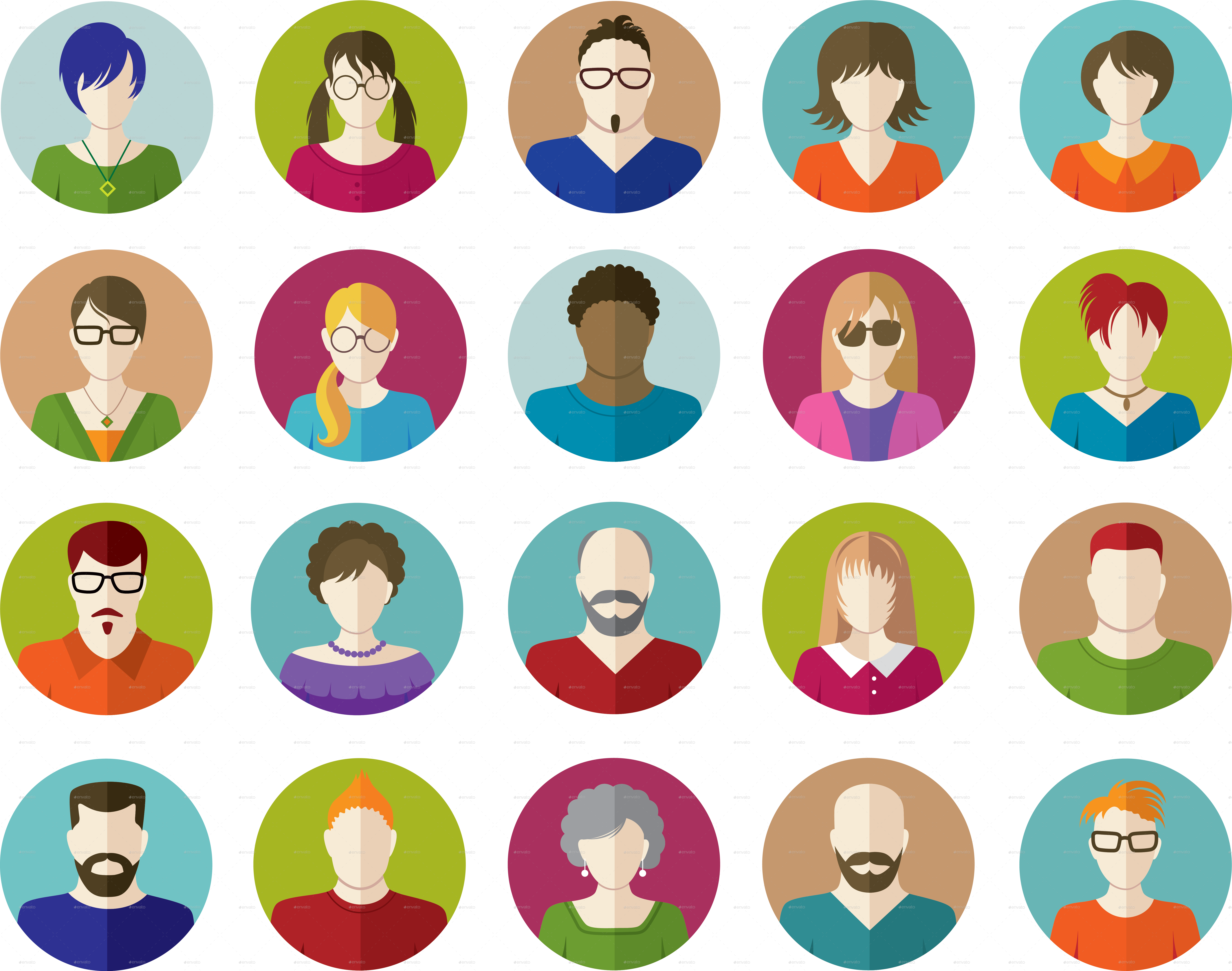Set Of People Flat Icons By Vectorgirl - People Flat Icons Png Clipart (6723x5298), Png Download