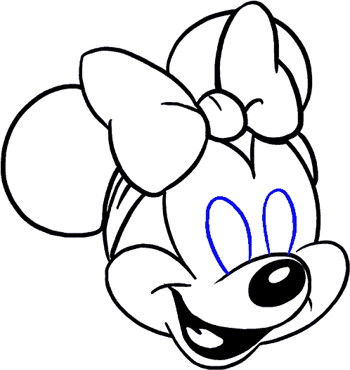 How To Draw In A Few Easy - Minnie Mouse Face Baby Clipart (678x600), Png Download