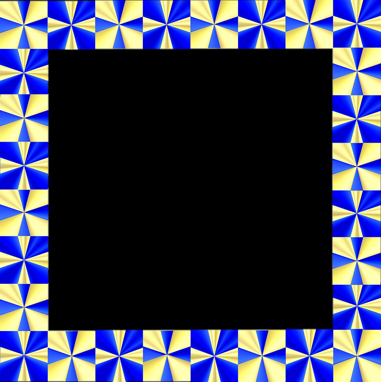 Frame Border Gold Blue Shiny Png Image - Border Design Frame Clipart (1277x1280), Png Download