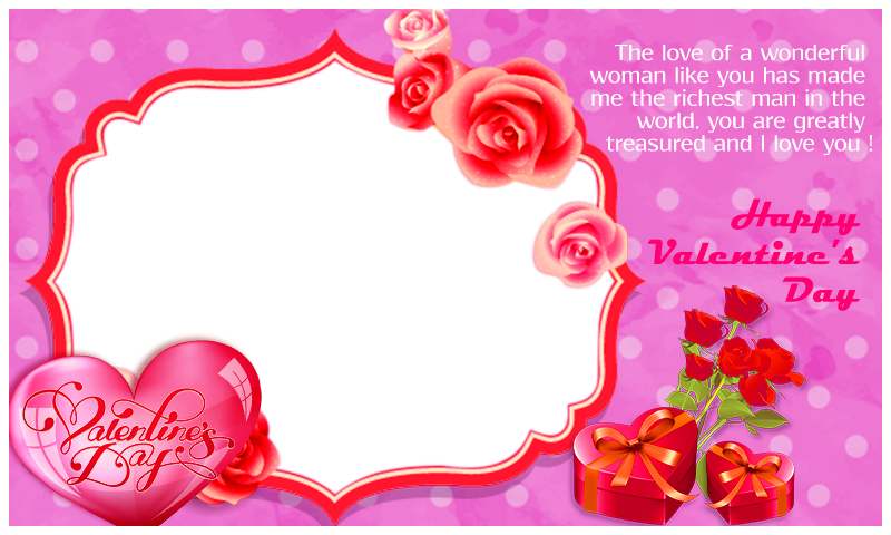 Valentines Day Frame Png Pic - Valentines Day Photo Frame Png Clipart (800x480), Png Download