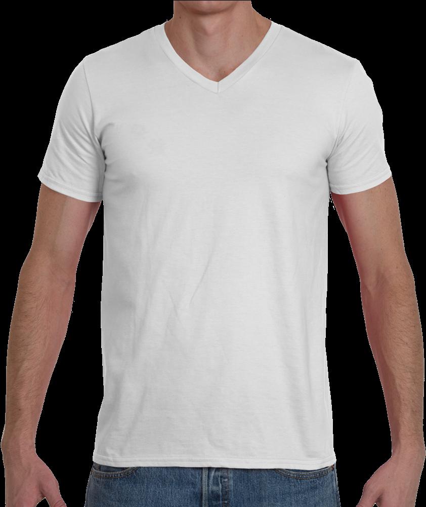 Soft Spun Fashion Fit V Neck T Shirt - Polo Blanc De Marque Clipart (1000x1000), Png Download