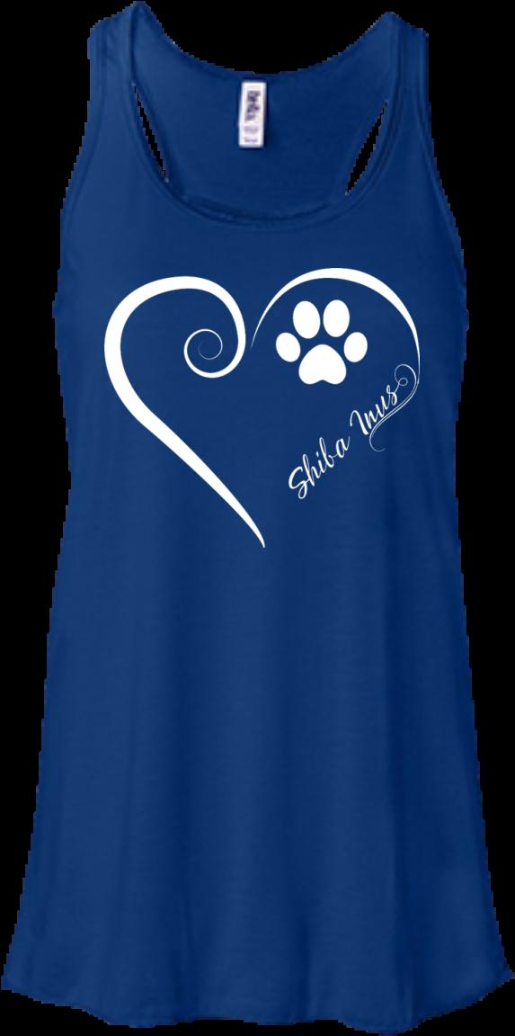 Shiba Inu, Always In My Heart Flowy Racerback Tank - Bella + Canvas Ladies' Flowy Racerback Tank B8800 Clipart (1155x1155), Png Download