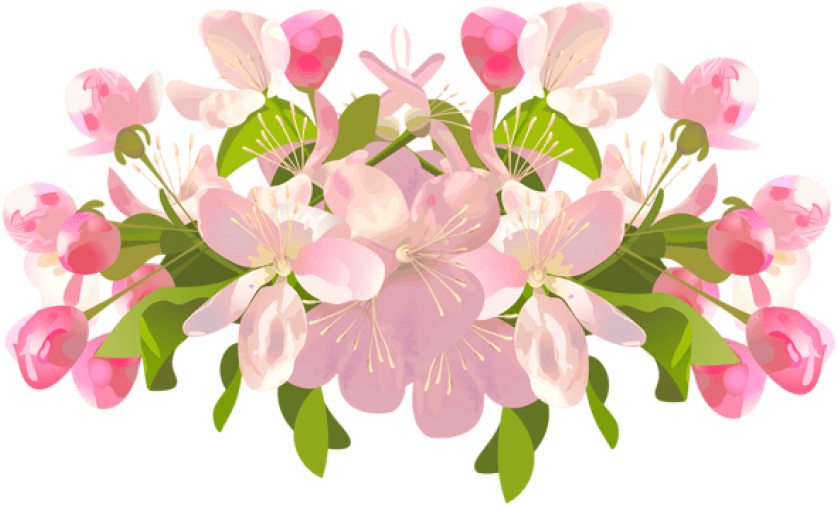 Free Png Download Spring Tree Flowers Transparent Png - Spring Flowers Transparent Background Clipart (850x513), Png Download