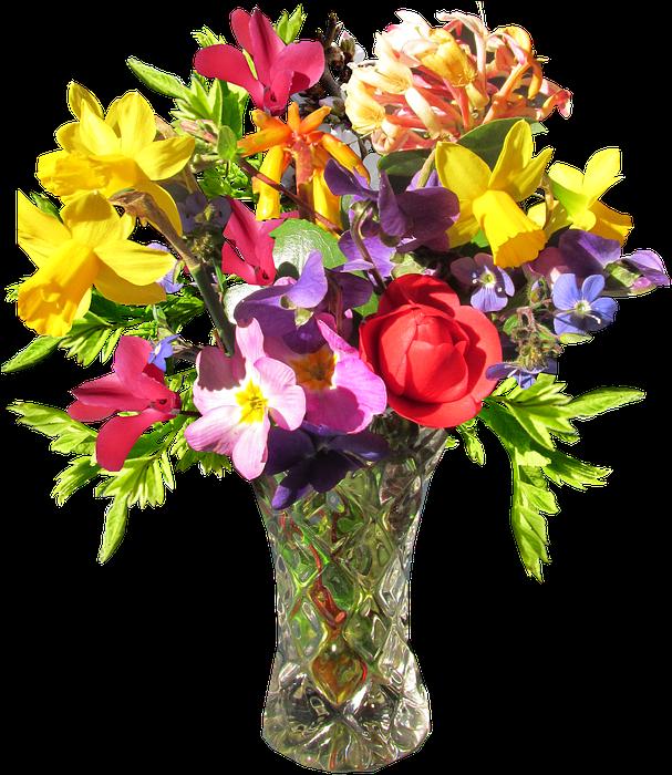 Flower, Vase, Spring - Flower With Vase Png Clipart (616x720), Png Download
