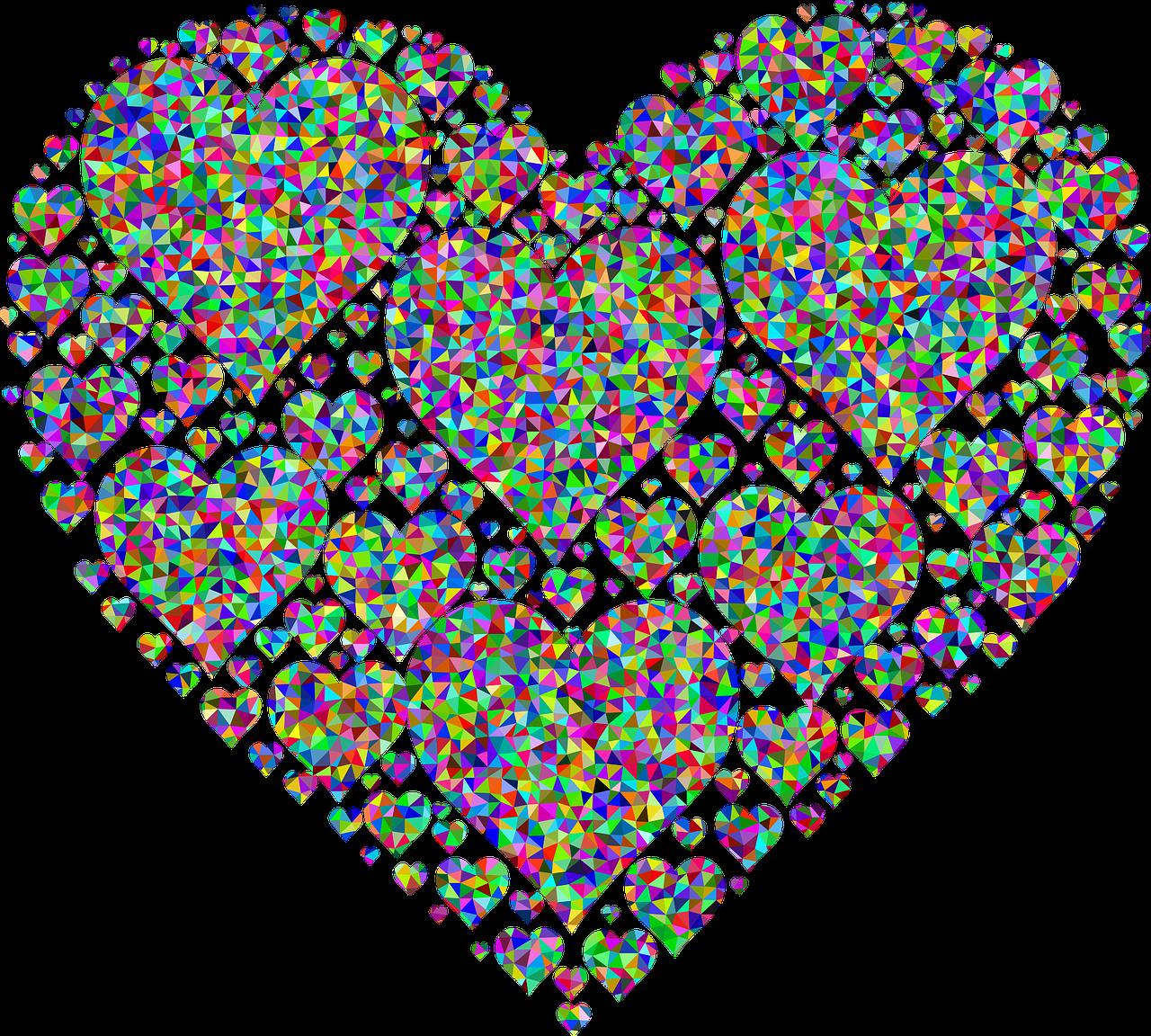 Fractal Colorful Prismatic Png Image - Love Black Heart Emoji Clipart (1280x1152), Png Download