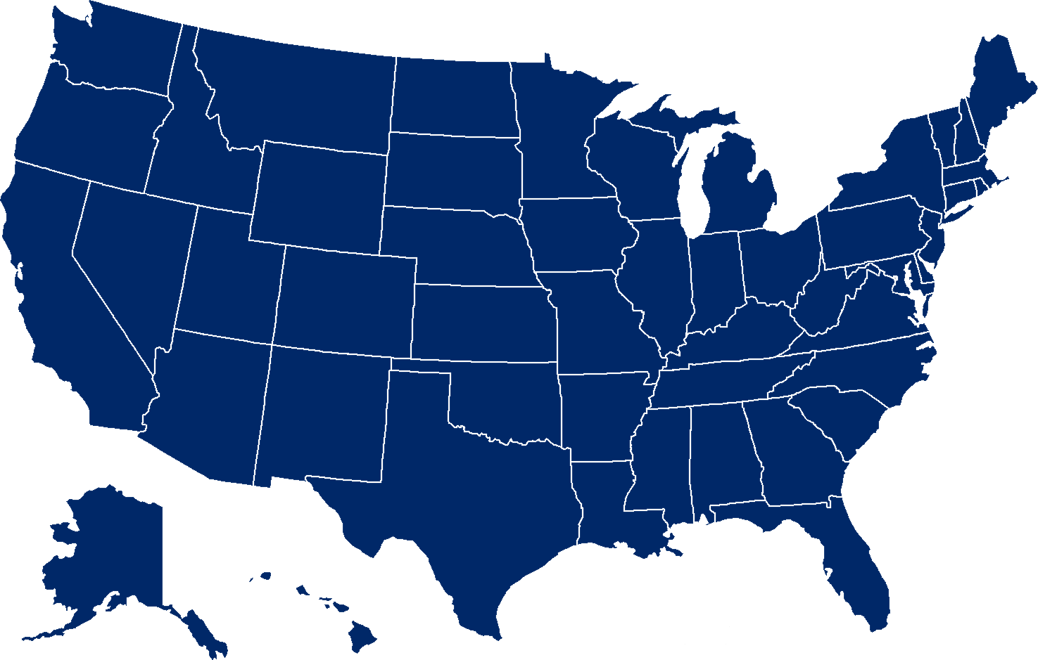 Usa Map Png - Blue Map Of The Us Clipart (1475x939), Png Download