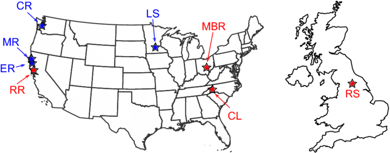 Maps Of The Us And Uk Showing The Location Of The Eight - Blank Clip Art White Map Of Usa - Png Download (850x412), Png Download