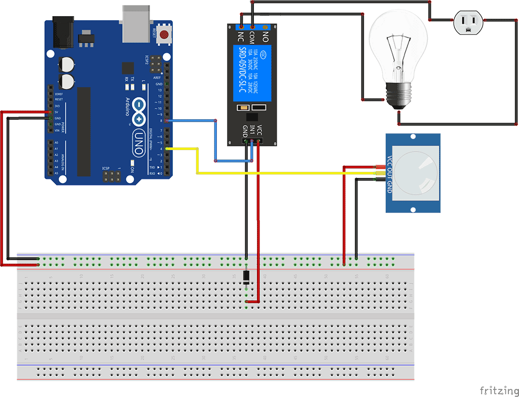 Temporized Pir Sensor Relay Transparent Background - Arduino Relay Module Connection Clipart (1024x783), Png Download
