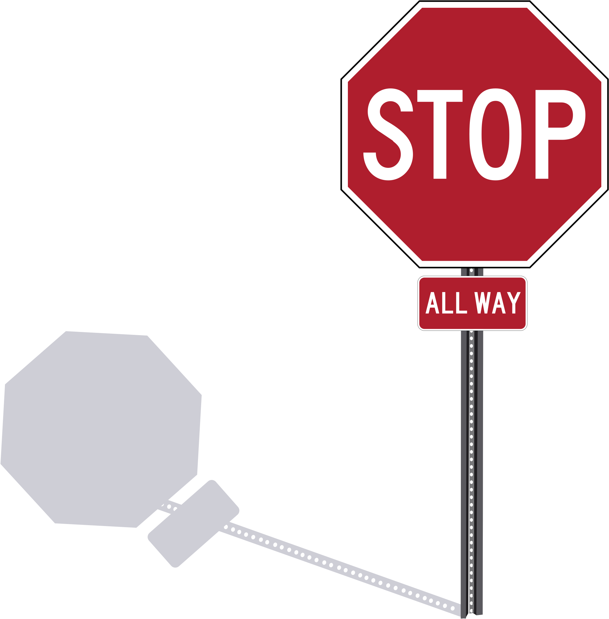 This Free Icons Png Design Of Stop Sign On Post Clipart (2400x2192), Png Download