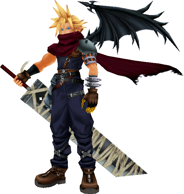 No Body Seems To Be Working On The Model For The Kh - Cloud Strife Kingdom Hearts Clipart (637x671), Png Download