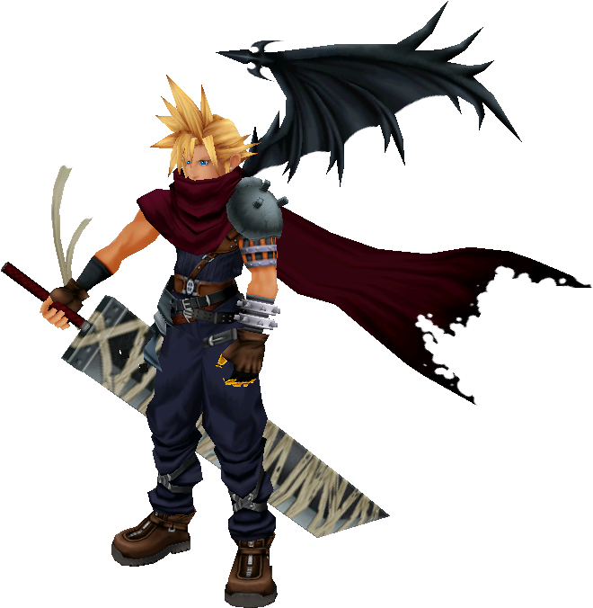 The Demon Like Design Of Cloud Is Read Eh For Some - Cloud Kingdom Hearts 1 Design Clipart (708x707), Png Download