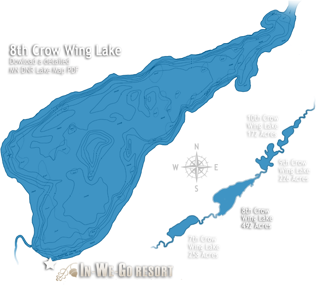 8th Crow Wing Lake Map Clipart (700x592), Png Download