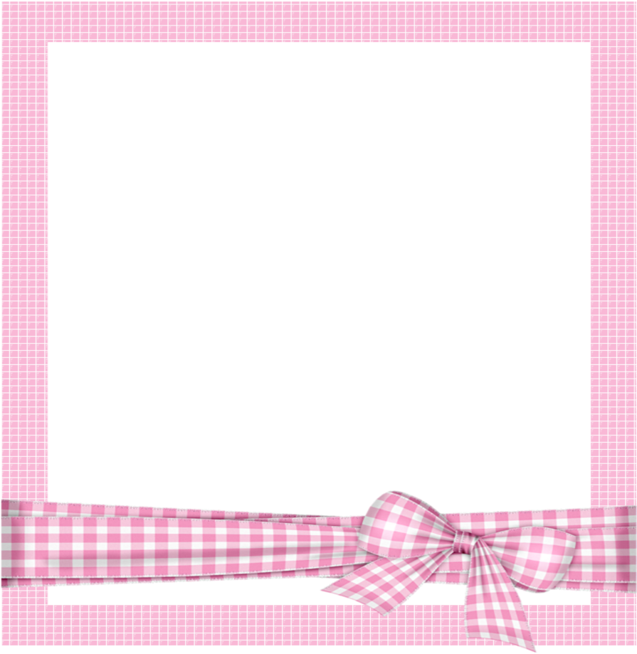 Mq Pink Bow Frame Frames Border Borders - Pink Cartoon Photo Frame Clipart (1024x1024), Png Download