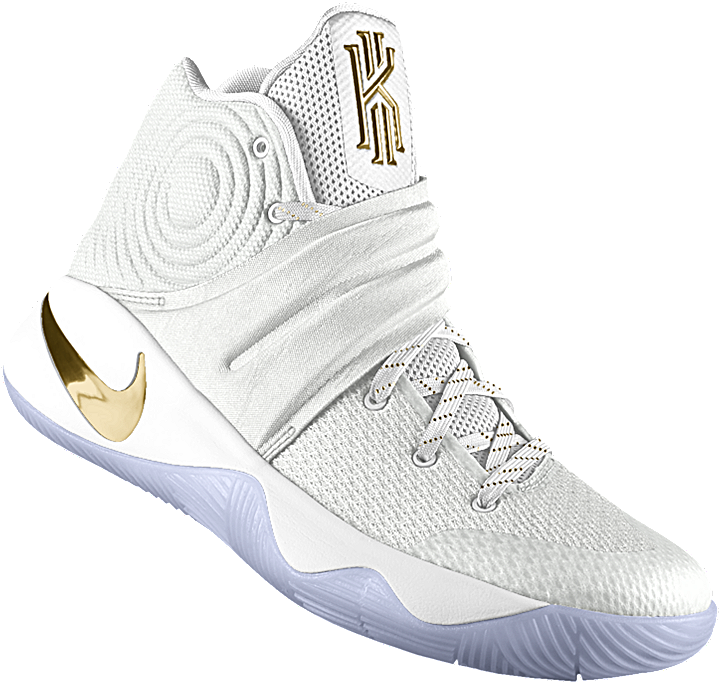 kyrie irving white and gold shoes