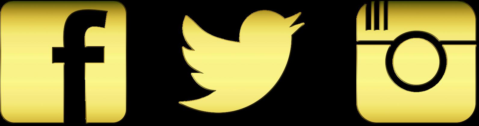 Clip Art Free Instagram Twitter Facebook Icons - Instagram Logo Gold Png Transparent Png (1600x454), Png Download