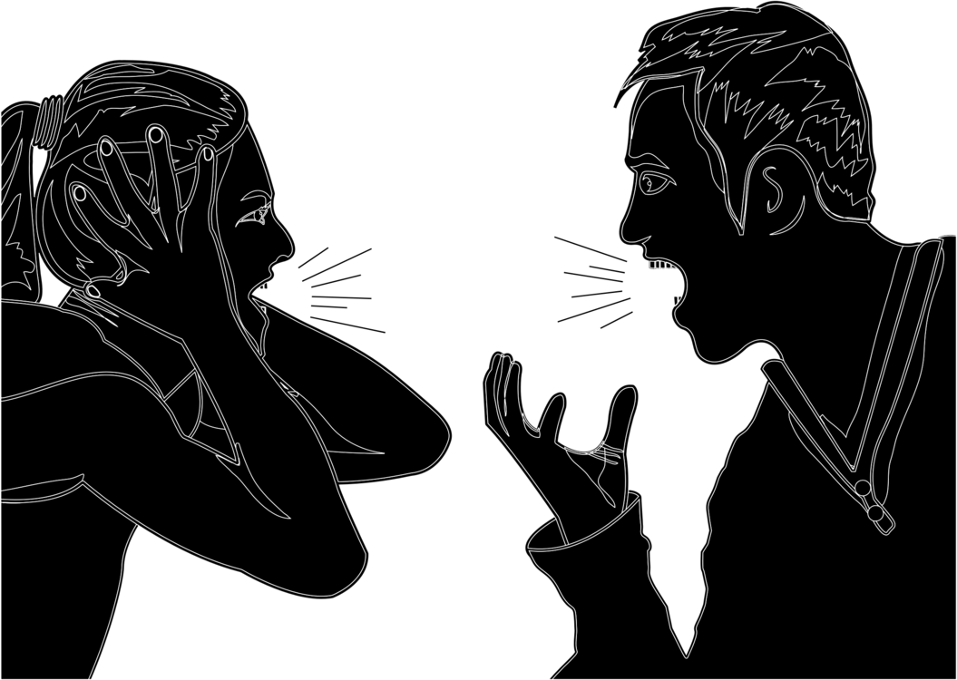 Human Behavior Visual Arts Silhouette Cartoon Cartoon People Arguing Black And White Clipart Large Size Png Image Pikpng