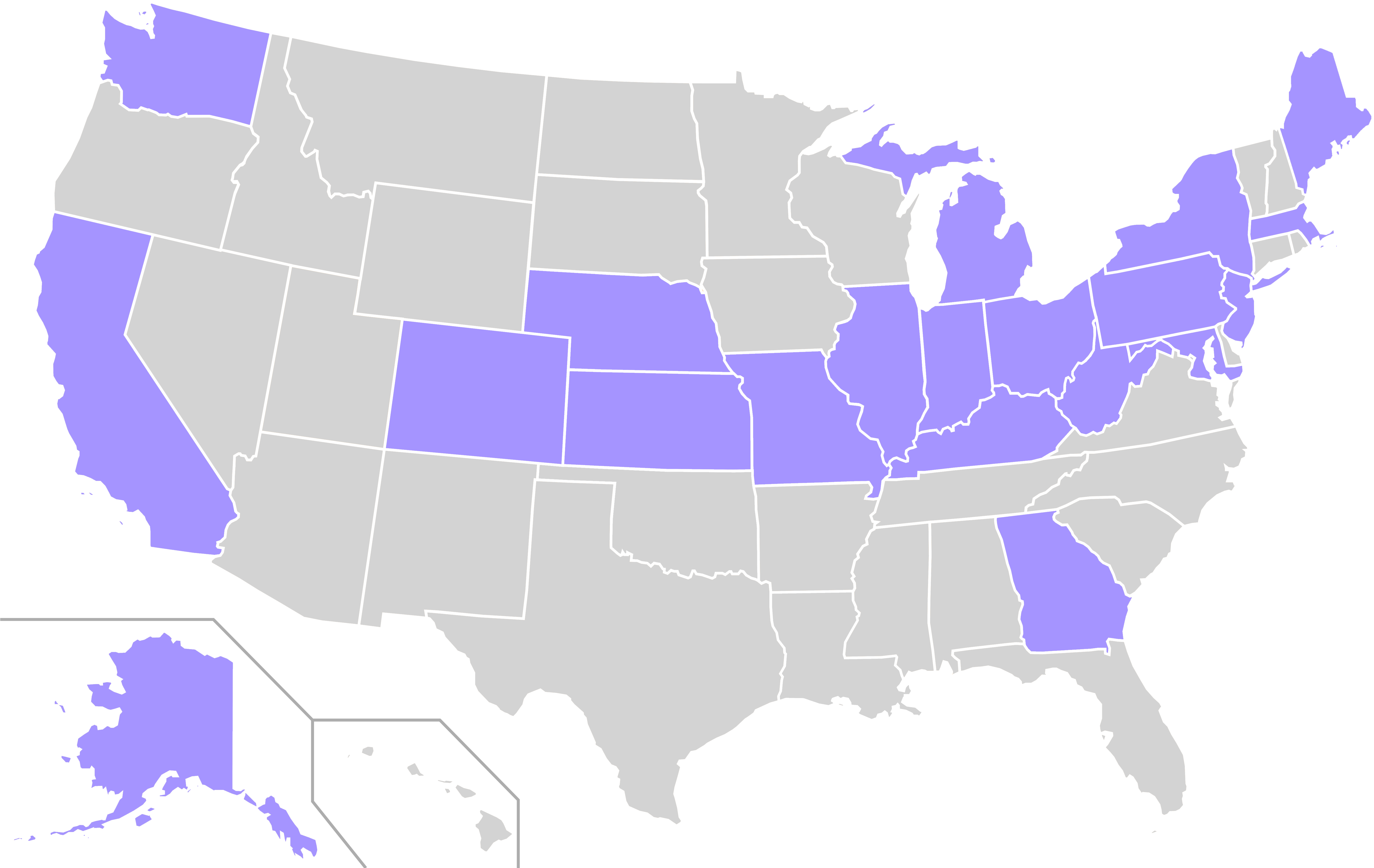 Home States Of Prohibition Party Presidential Nominees - Map Us Crime Rate Clipart (6000x3710), Png Download