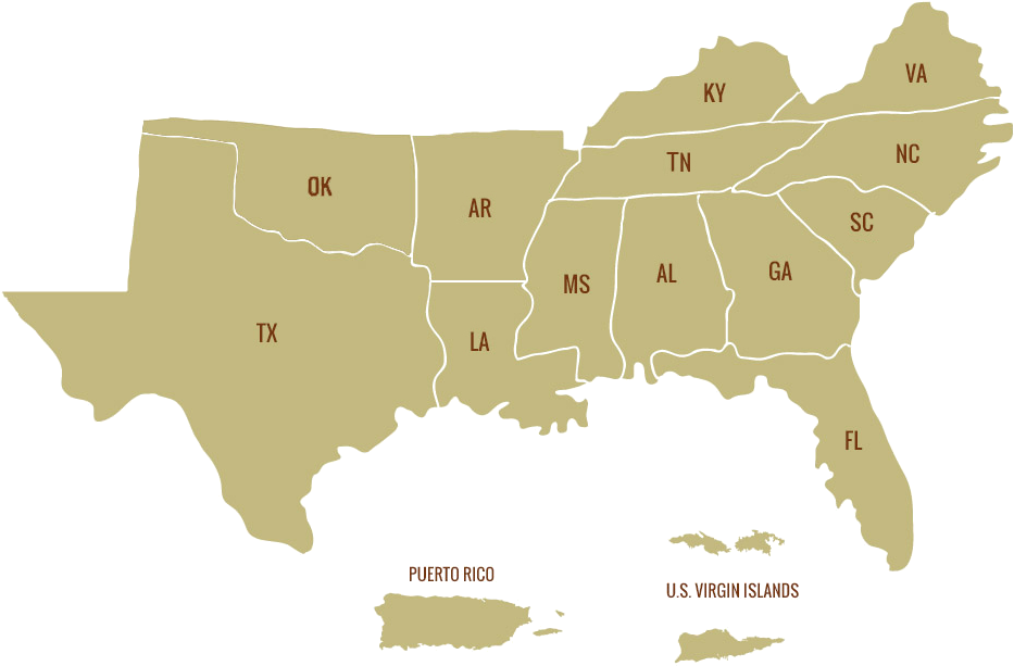 Map Southern States 636136231798973584 1979108747 Of - Do Hurricanes Occur In The Us Clipart (949x631), Png Download