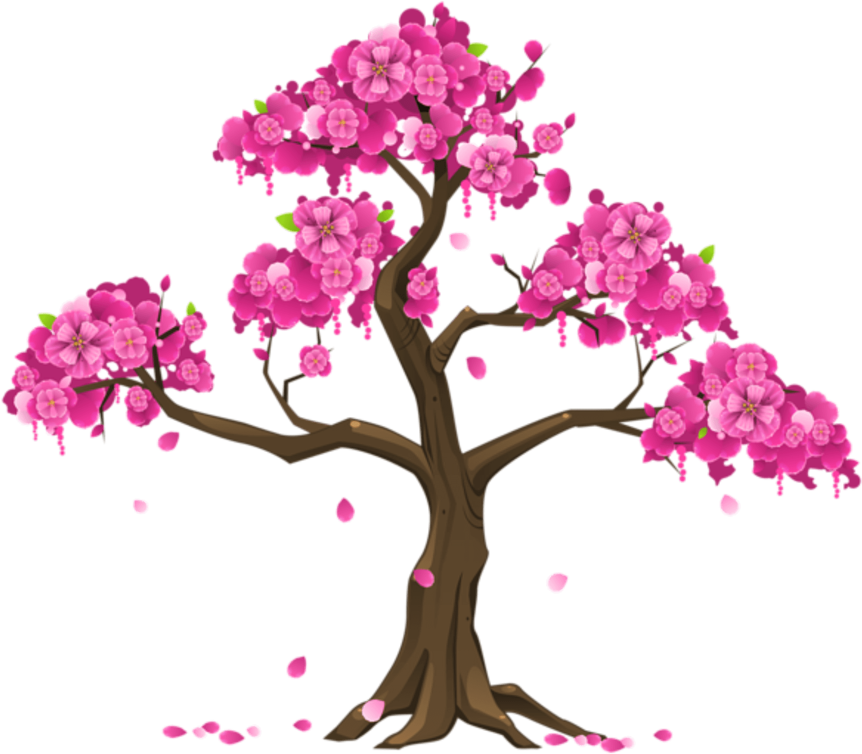 Pink Tree Png Clipart Image - Cherry Blossom Tree Clipart Transparent Png (600x525), Png Download
