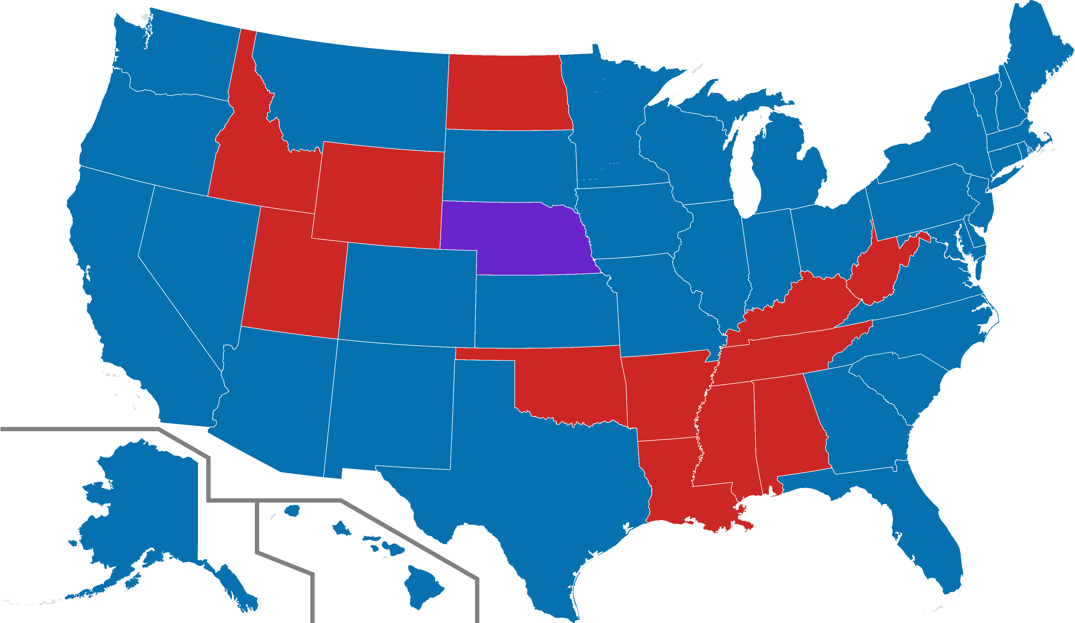 2016 Us Presidential Election Polling Map Gender Gap - Us Senate Map 2019 Clipart (3726x2160), Png Download