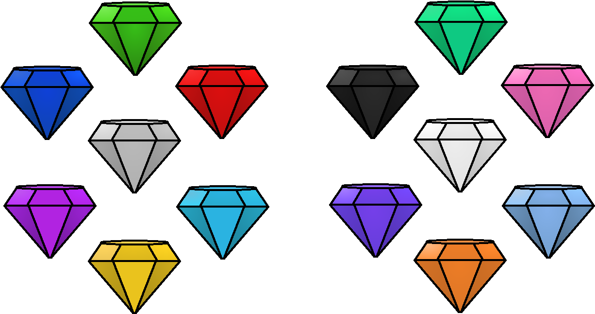 Emerald Clipart Chaos - All Colors Chaos Emeralds - Png Download (1226x646), Png Download