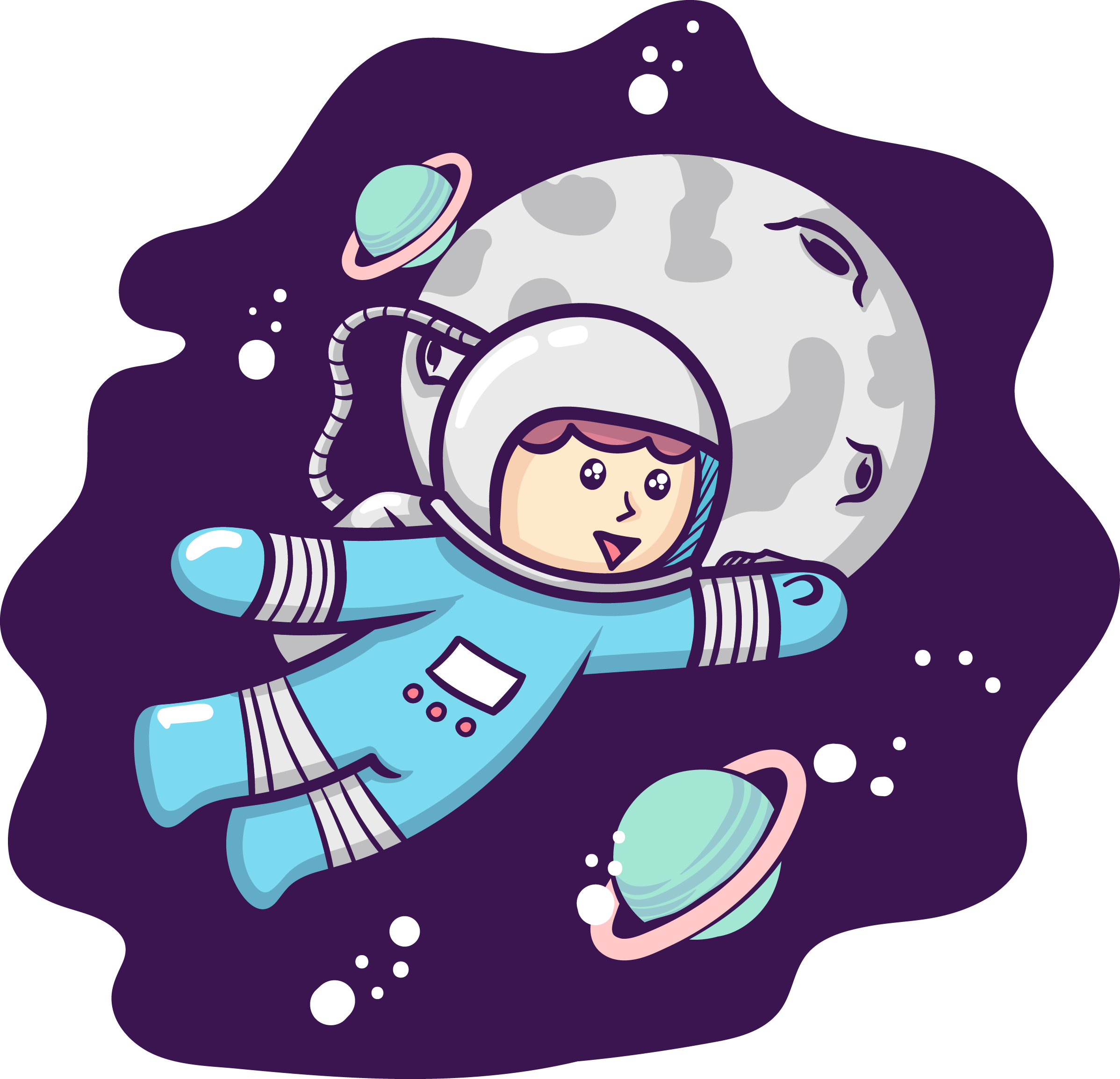 Moon - Astronauta Cute Clipart - Large Size Png Image - PikPng