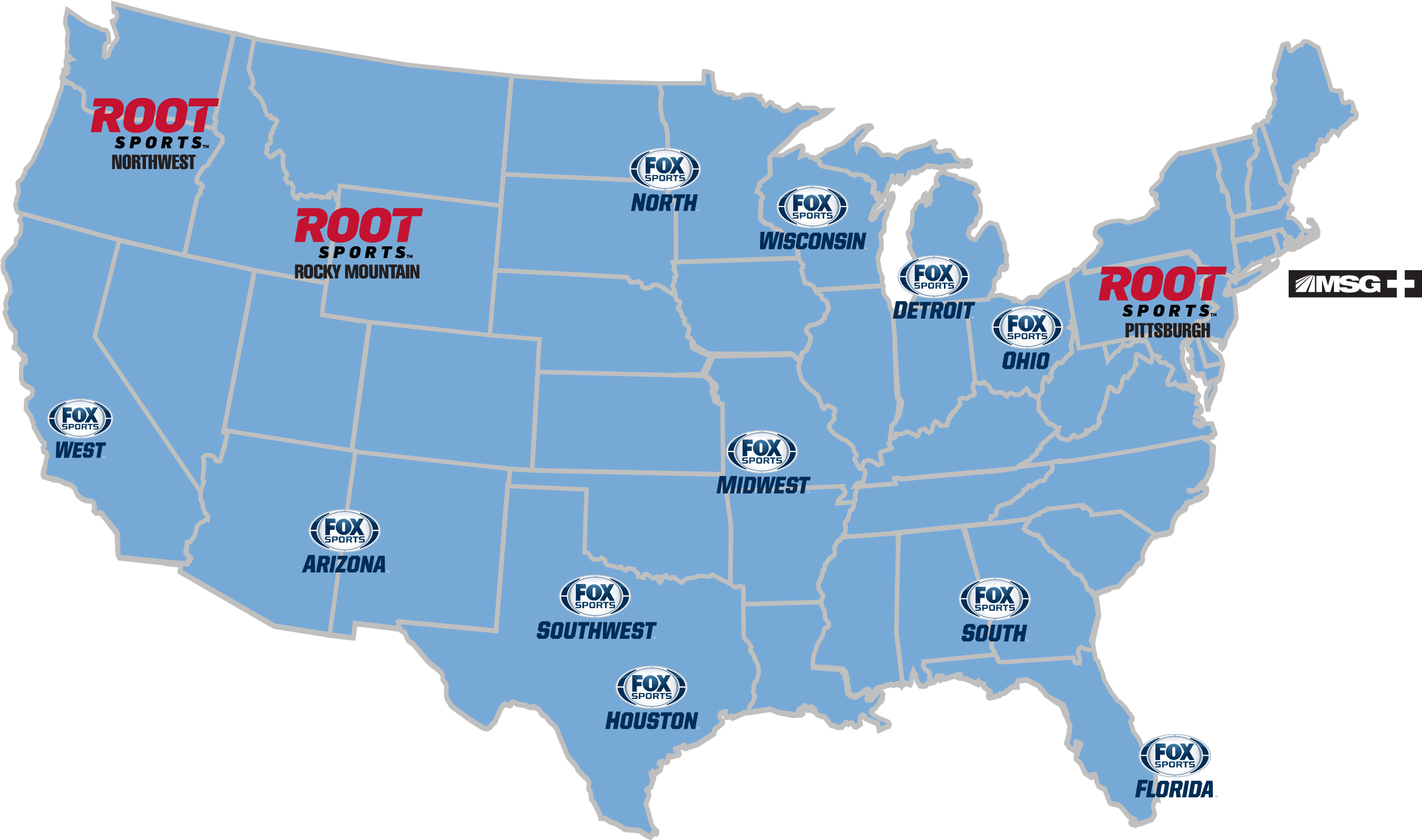 2012 New Fox Rsn Logos Collegiate Prog Map Copy - Animated Map Of Us Clipart (2776x1594), Png Download
