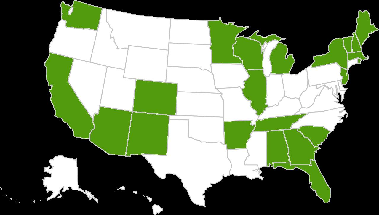 Alabama, Arizona, Arkansas, California, Colorado, Florida, - Map Of The United States Clipart (1279x726), Png Download