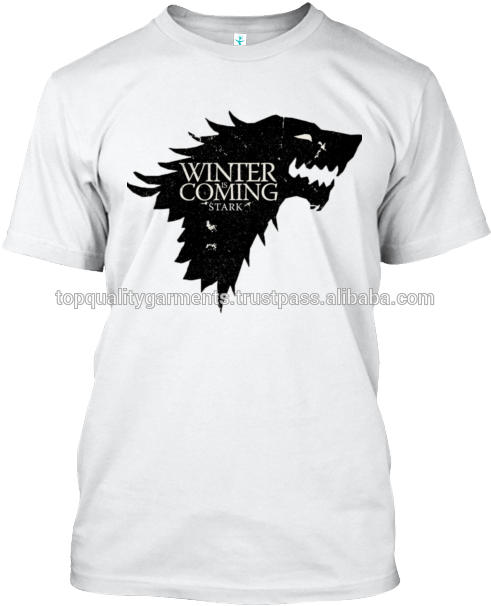 White Winter Is Coming Print T-shirt 100% Cotton Boys - Game Of Thrones Birthday Cake Easy Clipart (530x630), Png Download