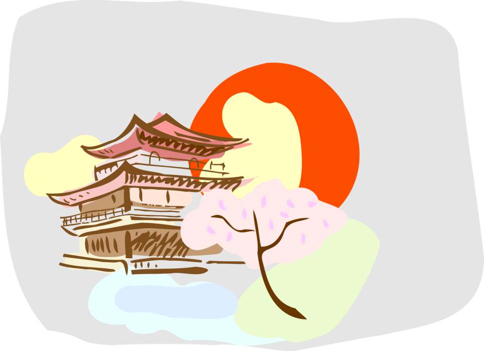 Vector Illustration Of Japanese Pagoda Temple Or Sacred - Illustration Clipart (966x700), Png Download