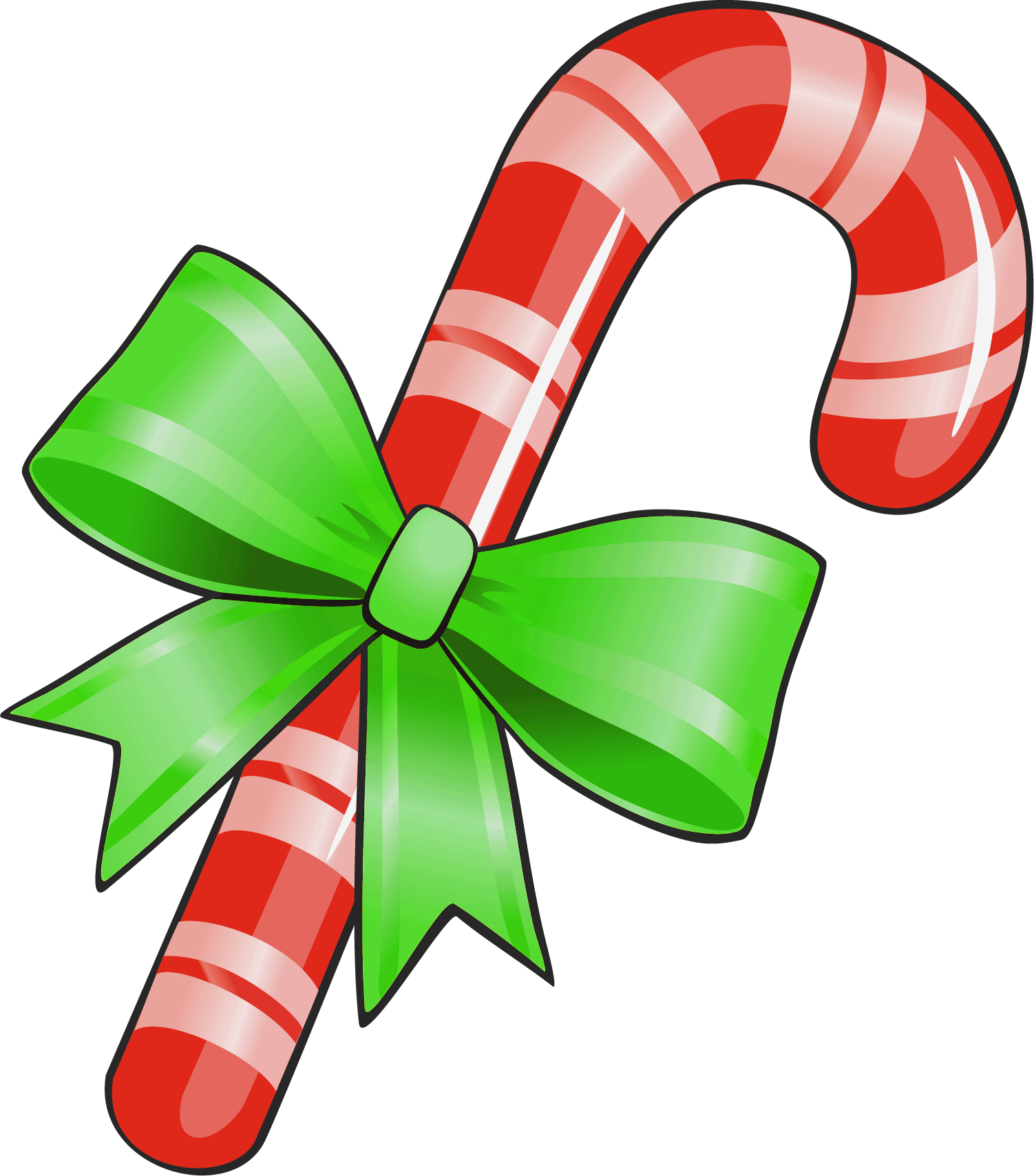 Transparent Christmas Candy Cane With Green Bow Png ...