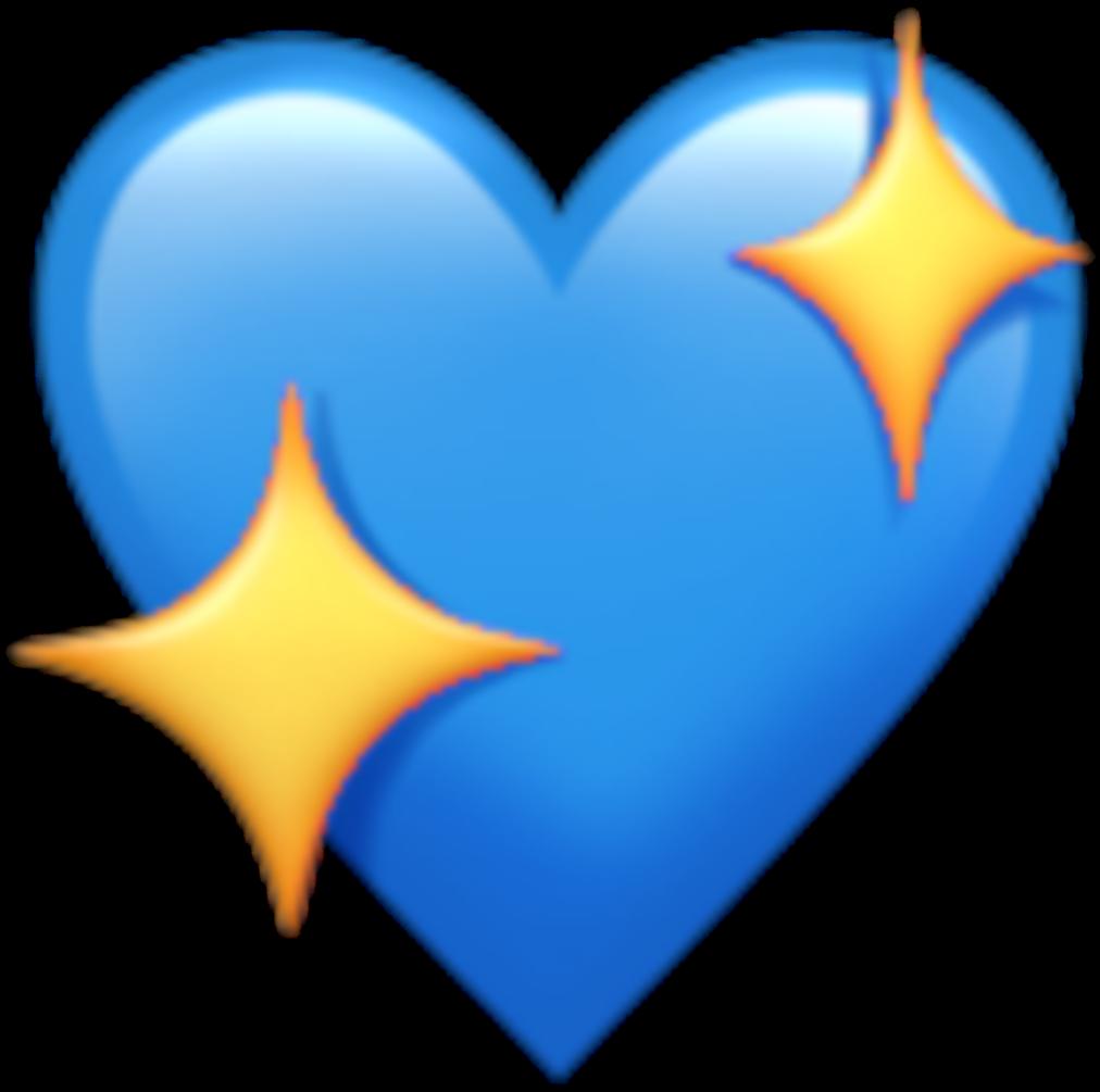 Sticker Heart Blue Star Emoji Kawaii Tumblr Png Love - Apple Heart Emoji Clipart (1080x1080), Png Download