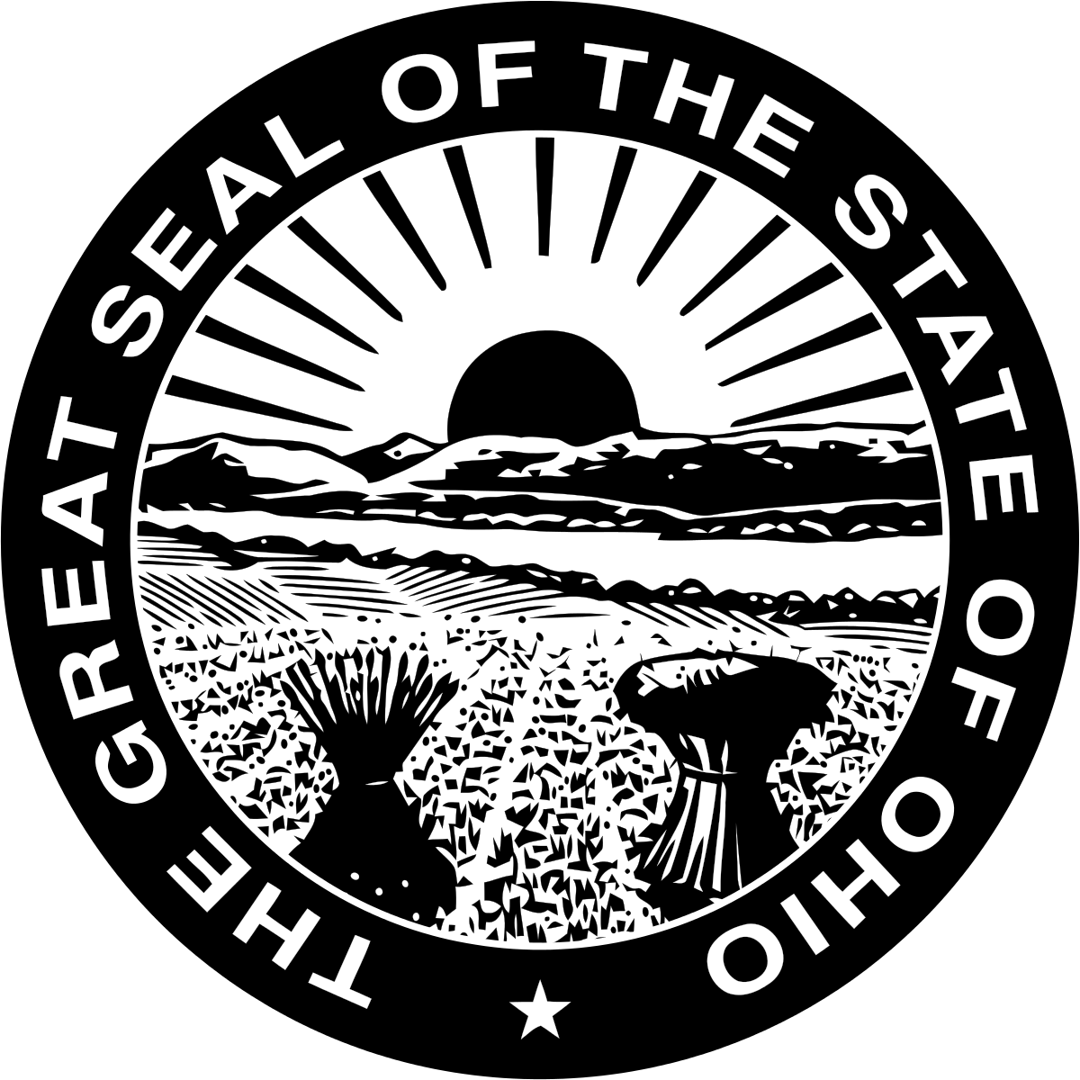 Vector Ohio Drawing - Great Seal Of Ohio Clipart (1200x1200), Png Download