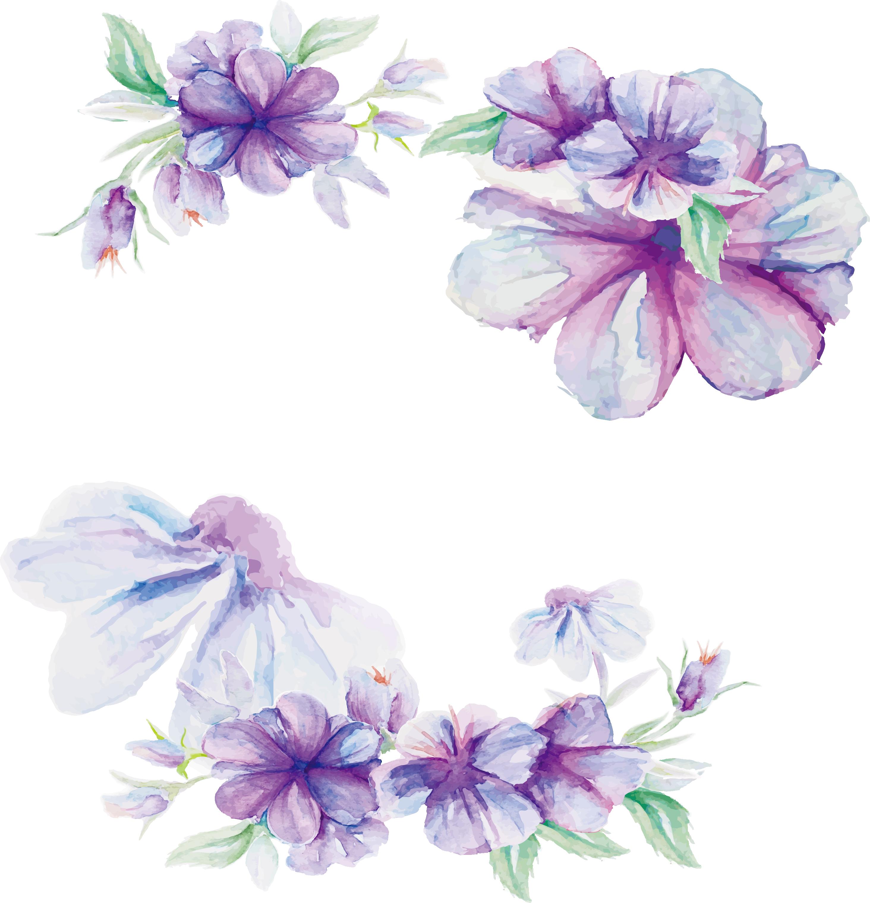 Design Lilac Flower Pattern Watercolor Purple Flower Vector