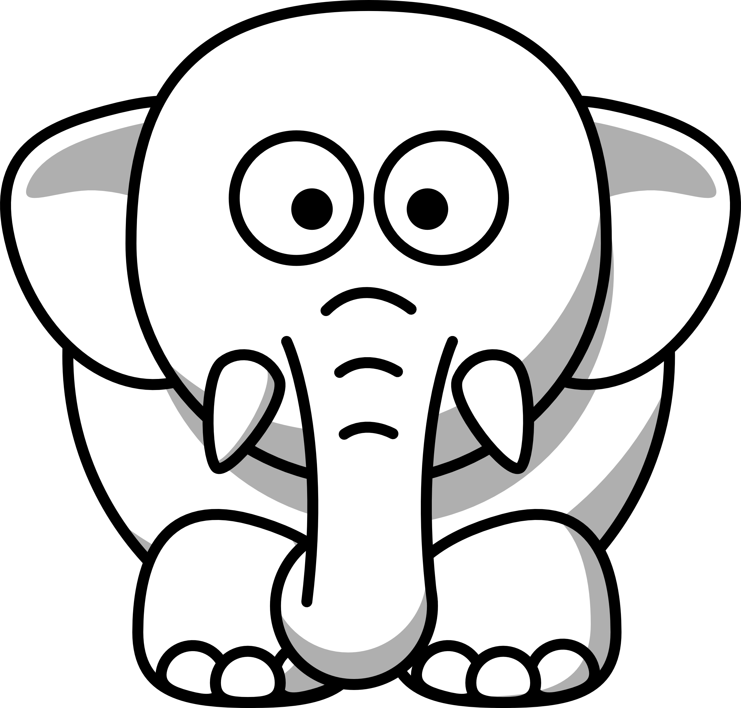 Net Clipart Black And White Elephant Copy Black White Clip Art Animal Black And White Png Download Large Size Png Image Pikpng