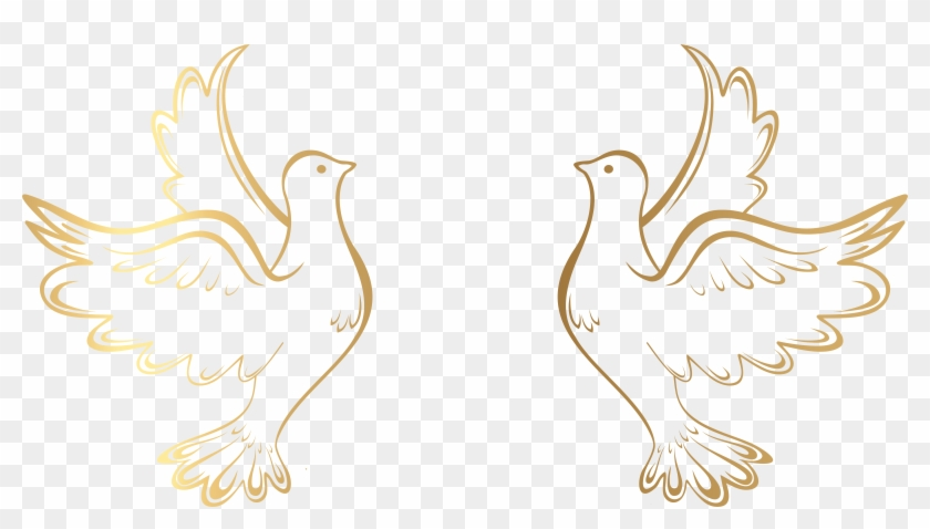 Gold Decorative Lines Png - Gold Doves Clipart #5720