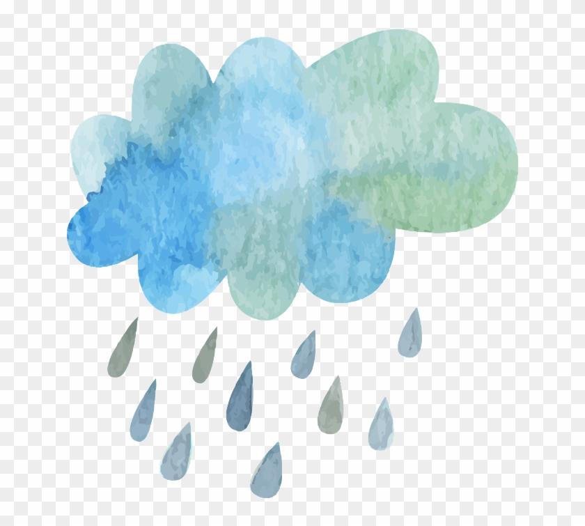 Ftestickers Watercolor Cloud Rain Blueandgreen - Rain Cloud Watercolor Transparent Clipart #7954