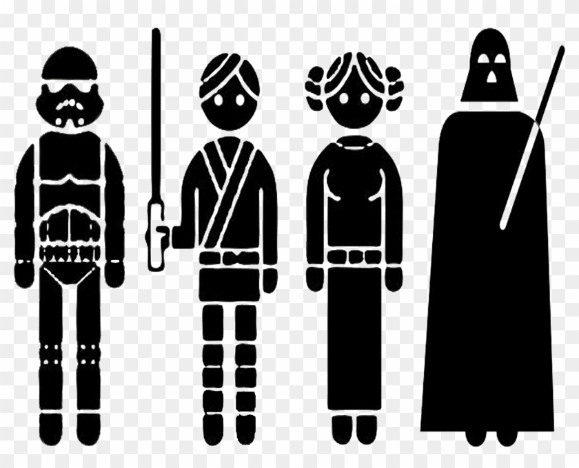 Star Wars Characters Clipart Black And White - Outline Of Star Wars Characters - Png Download #107194