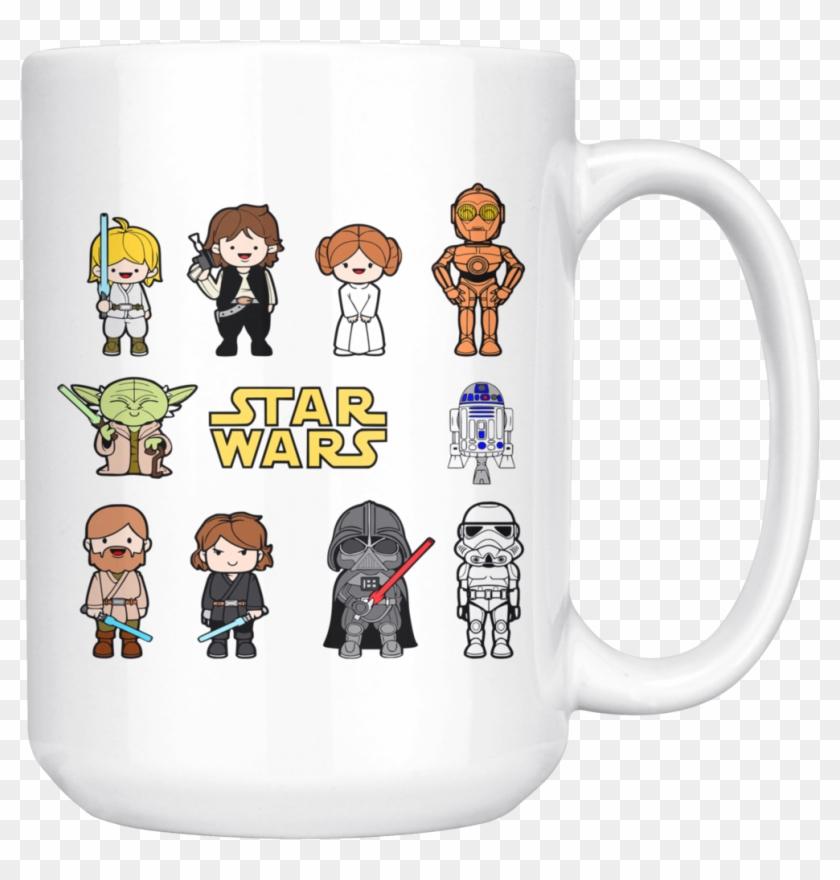 Star Wars Characters Darth Vader Bb8 Yoda Mug - Easy Star Wars Coloring Page Clipart #107849