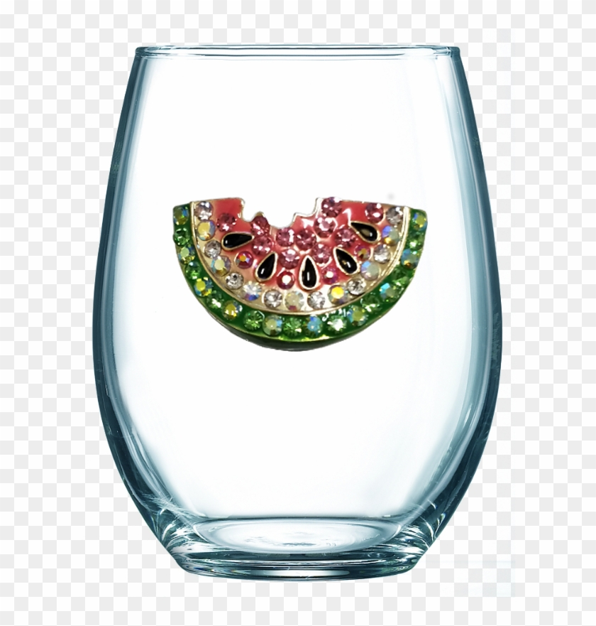 Watermelon Jeweled Stemless Wine Glass - Bad Day Stemless Wine Glass Clipart #1022912