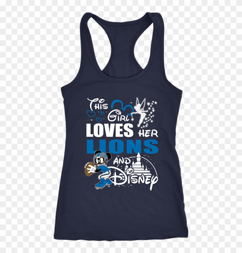 This Girl Loves Her Detroit Lions And Mickey Disney - Shirt Clipart #1042608