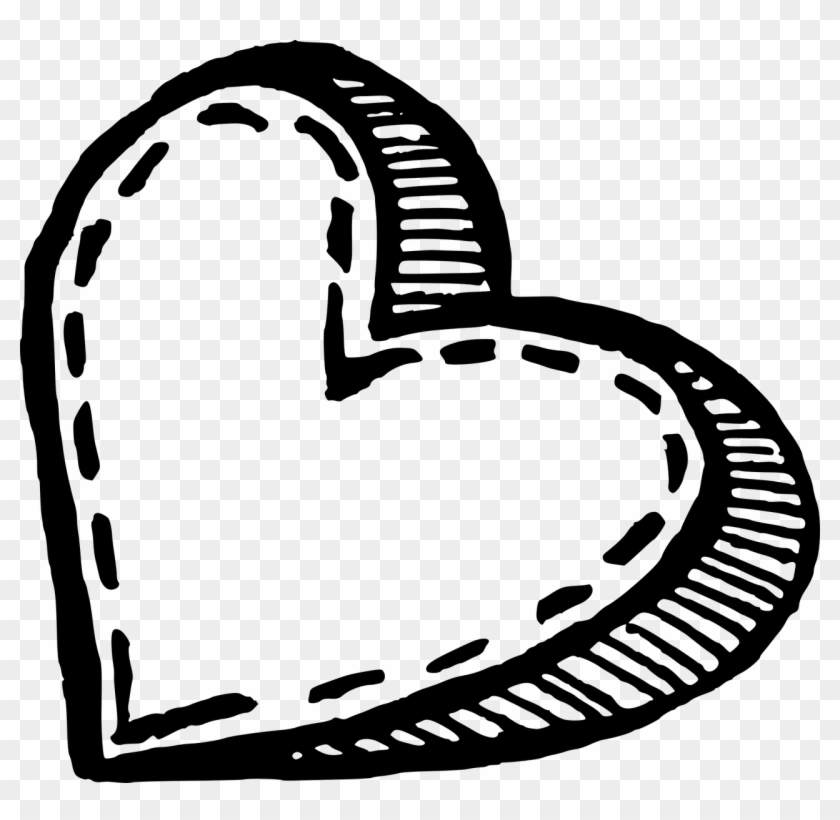 Hand Drawn Png - Heart Sketch Png Clipart #1054753