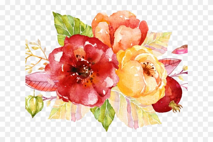 Bouquet Clipart Spring Flower Bouquet - Flower Paint For Invitation - Png Download #1059991