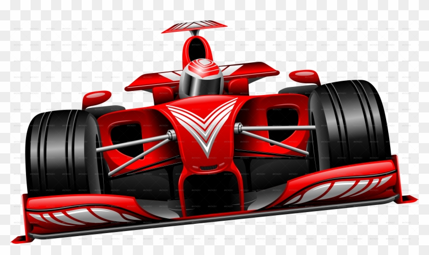 Formula 1 Red Race Car Photos - Checkered Flag With Red Race Car Clipart #1087622