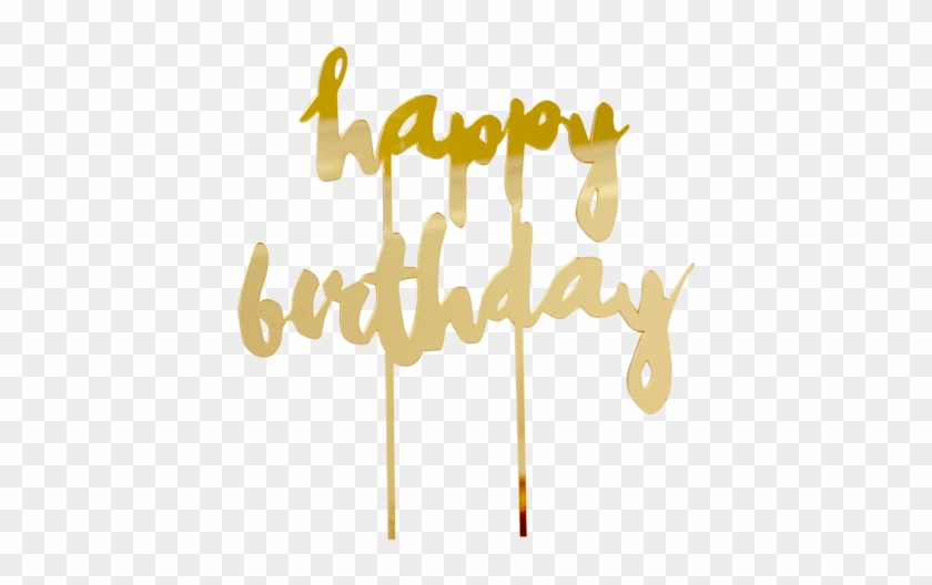 Gold Acrylic Happy Birthday Cake Topper By Harlow &amp - Happy Birthday Png Gold Clipart #1101180