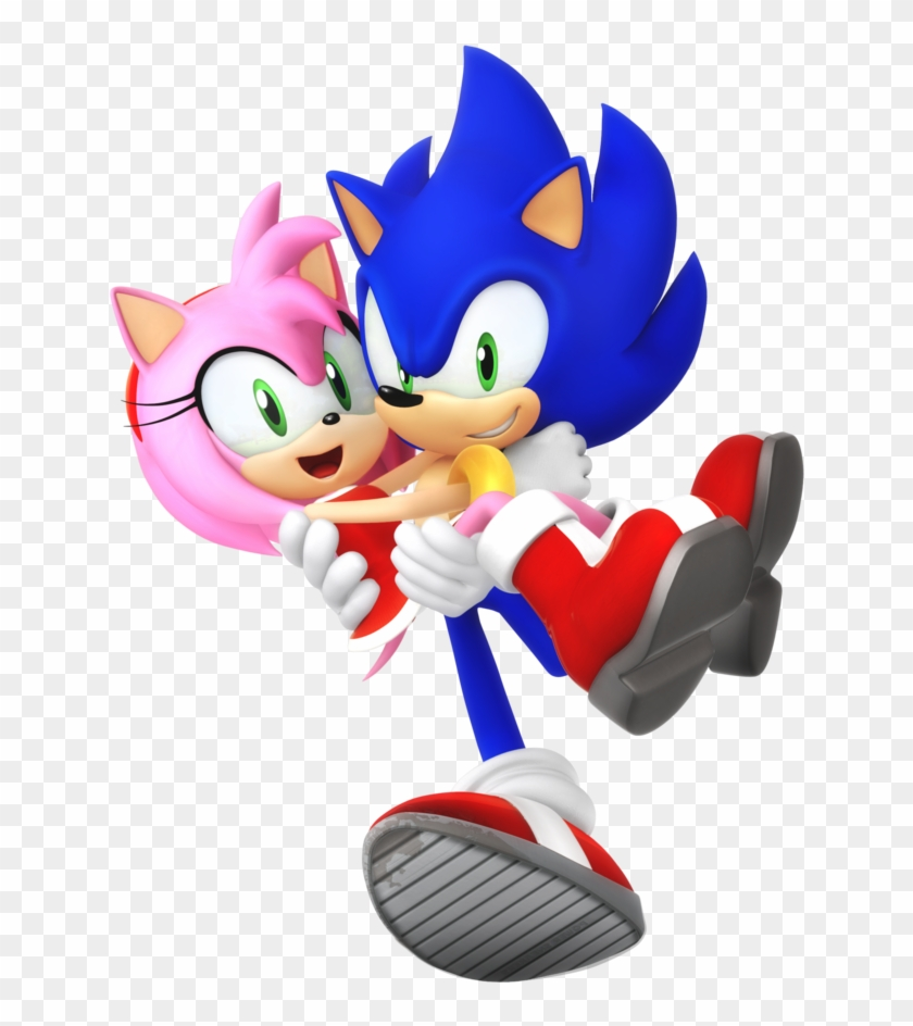 Sonic And Amy, Metal Sonic, And Modern Amy In Her Classic - Modern Sonic And Amy Clipart #1122756