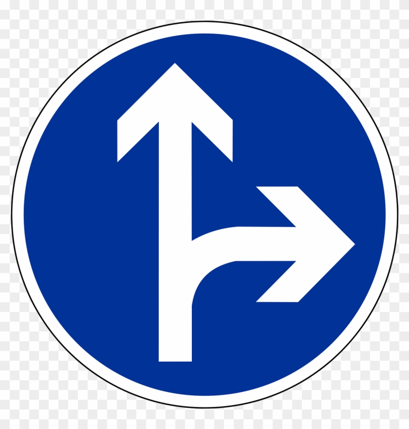 Traffic Sign Road Sign Shield - Go Straight Or Right Traffic Signs Clipart #1125132